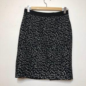 Ann Taylor Black Patterned Pencil Skirt Sz 0